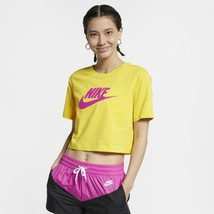 Nike Women's Sportswear Essential Cotton Logo Cropped T-Shirt, Yellow, L - $22.05