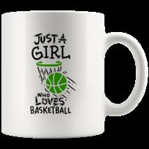Just a Girl Who Loves Basketball 11oz Ceramic Coffee Mug Gift Green Text - $19.95