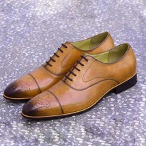 Oxford Spectator wingtip Handmade Shoes, Men Tan Dress Shoes, Men Shoes - $144.99+