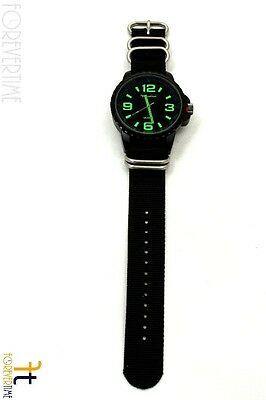 22mm para Luminox Nailon Tejido Negro Correa Reloj de Pulsera 4 Acero Inoxidable