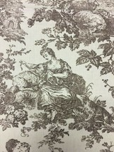 Laura Ashley English Country Print Brown & Cream Toile Upholstery Fabric... - $42.75