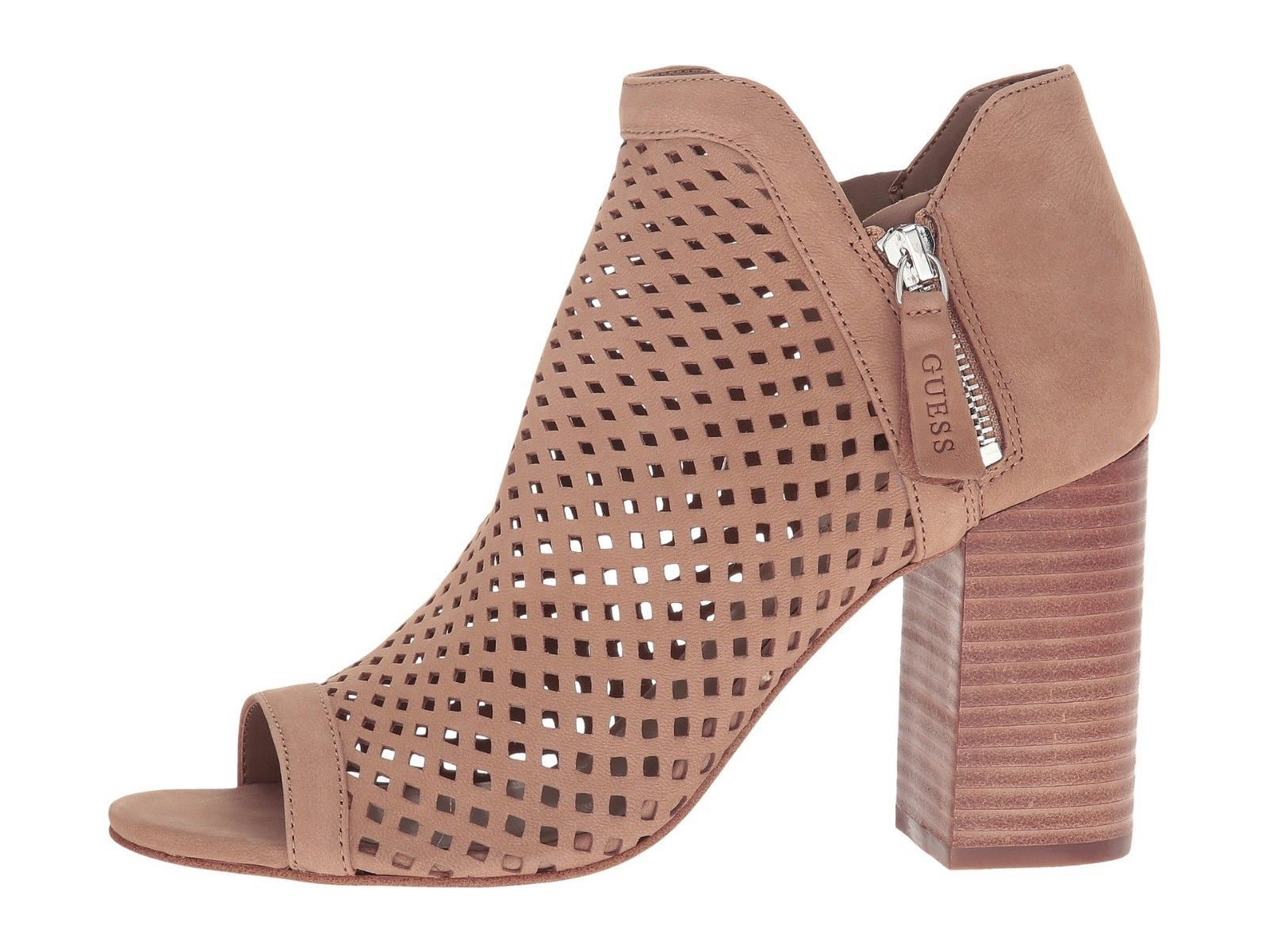 Guess Oana Perforated Leather V-Throat Peep-Toe Booties, Sizes 7.5-11 Taupe