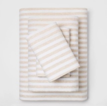 Cozy Jersey Sheet Set Full Oatmeal/White - Threshold - $28.70