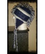 Blue, White & Gray Handmade Crochet Mohawk Hat - $30.00