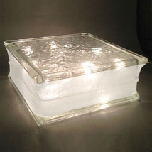 """Glass Block 8""""x 8""""x 3"""" IceScapes Pattern 3"""" White Border -Clear Christma... - $25.69"""
