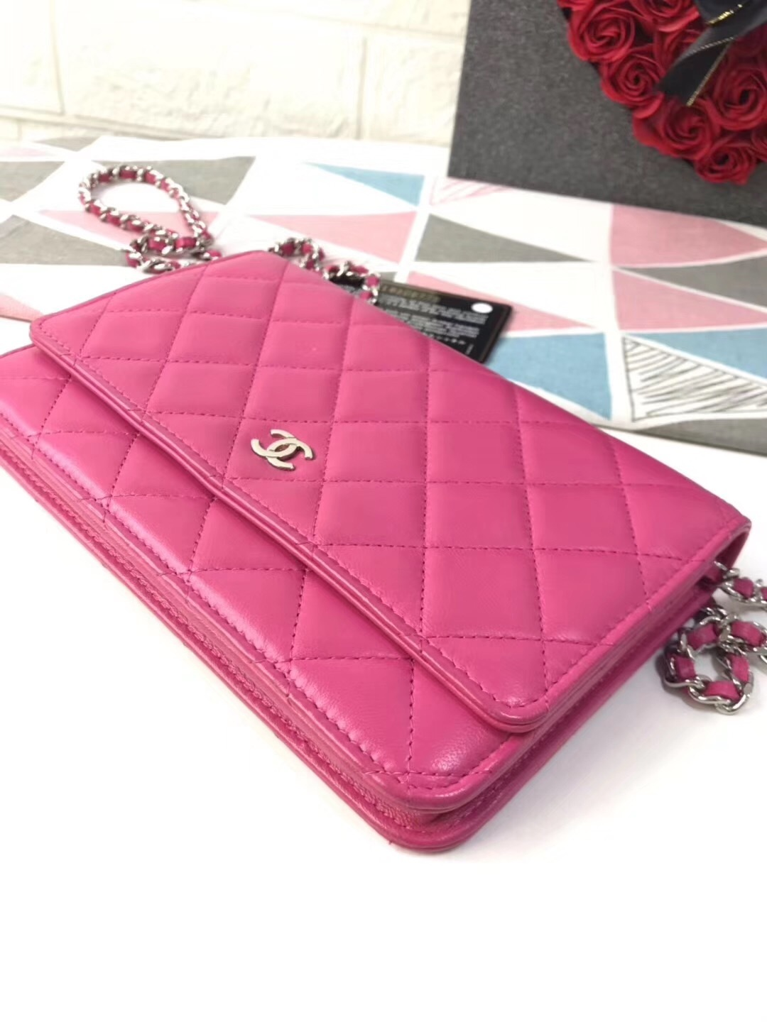 100% AUTH CHANEL WOC Quilted Lambskin PINK Wallet on Chain Flap Bag SHW image 4