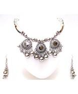 Set Necklace Earring Silver Oxidized Jewelry Bib Choker Ethnic Tribal Bo... - $14.84