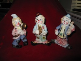 Set of 3 Colorful Musical Clown Figurines - $7.66