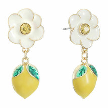 Liz Claiborne Women's White Flower & Lemon Drop Earrings Gold Tone New - $19.79