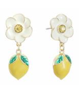 Liz Claiborne Women's White Flower & Lemon Drop Earrings Gold Tone New - $19.79