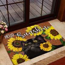 Hello Sunshine Doormat Non-slip Entrance Welcome Rug Cat Flower Lover Ho... - $29.65+