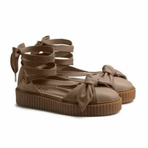 Puma Fenty Bow Creeper Sandal Womens 8.5 Ankle Laced Rihanna Natural Leather New - $89.95