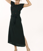 Custom Made Black linen maxi dress with mirror work hand embroidery details - $60.00