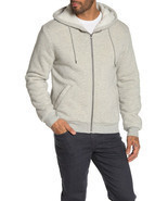 $248 Slate & Stone Front Zip Faux Shearling Lined Hoodie,LTGREY,SIZE M - $118.79