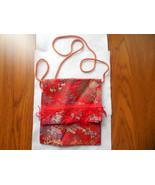 Red Asian Purse, Asian Print Bag, embroidered purse, brocade purse bag - $19.50