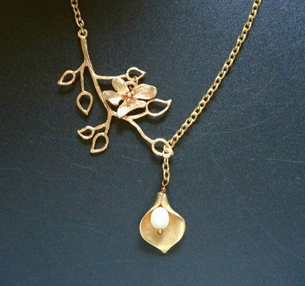 Gold Calla Lily Branch Lariat Necklace Gold Orchid Necklace Calla Lily Pearl Nec