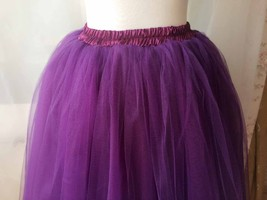Women High Waisted Tulle Skirt Purple A Line Midi Tulle Skirt Prom Party Skirts image 2