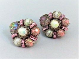 Stunning Vintage Designer Signed Hobe CLIP-ON Earrings With Pink White Beads - $19.79