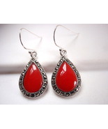 Red Coral Marcasite Earrings 925 Sterling Silver Dangle Corona Sun Jewelry - £34.28 GBP