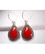 Red Garnet Earrings 925 Sterling Silver Dangle Teardrop Corona Sun Jewelry Red