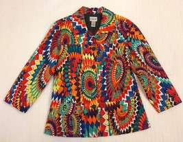 Chico's Cotton Spandex Bright Colorful Print Jacket Size 0 3/4 Sleeve - $19.99