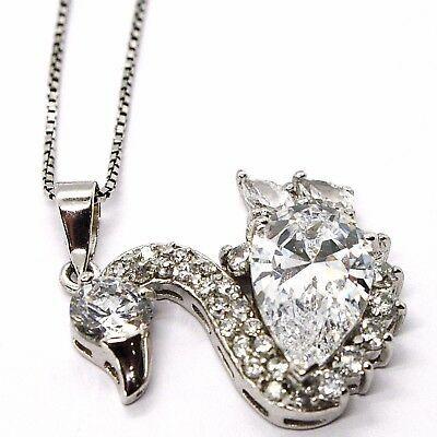 Silver 925 Necklace Chain, Veneta, Charm Pendant - Swan Cubic Zirconia Drop