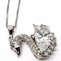 Silver 925 Necklace Chain, Veneta, Charm Pendant - Swan Cubic Zirconia Drop image 1