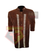 1057 BROWN MEN'S SUEDE LEATHER WESTERN STYLE BEADED AND BONES LEATHER JA... - $198.99