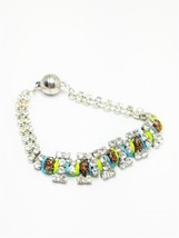Rhinestone Bracelet with gold tone Confetti beads and magnetic clasp Vin... - $15.30