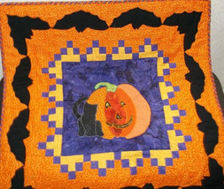 Halloween Cat and Pumkin Wallhanging - $75.00