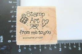 Rubber Stamp Stamp Art from me to You Stampin Up 1997 Primitive Heart Folk Art - $4.94