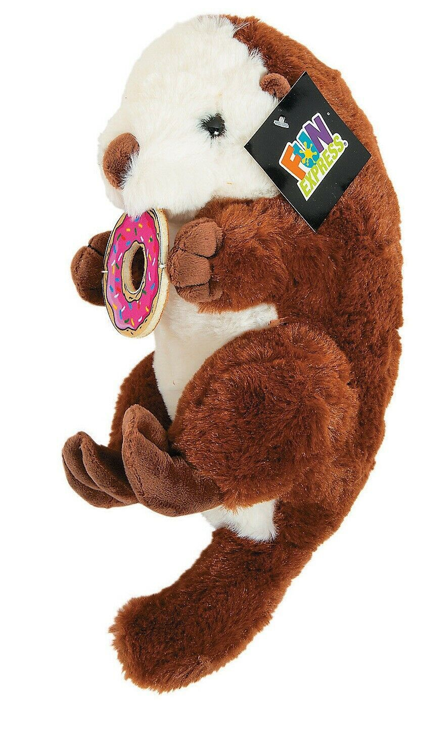 "12"" Stuffed Otter with Donut (Brown) Fun Plush Animal, American River Otter"