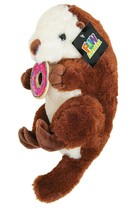 "12"" Stuffed Otter with Donut (Brown) Fun Plush Animal, American River Otter  image 1"
