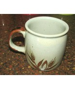 vintage stoneware coffee cup mug harvest wheat pattern speckled brown ac... - $6.92