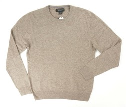 NEW $198 BLOOMINGDALES HTHR BROWN 2 PLY 100% CASHMERE CREWNECK SWEATER 2XL - $27.72