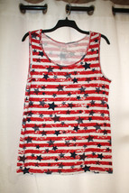 New Womens Plus Size 5X 30W 4TH Of July Red White Blue Stars & Stripes Tank Top - $14.50