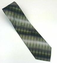 Van Heusen 100% Silk Men's Classic Neck Tie Black and Gold Striped Pattern - $9.99