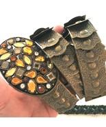 "BELT Bronze clink armor gem buckle Metal 32"" INCHES - $15.79"