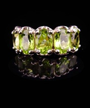 5CT peridot ring / Cocktail Ring / Vintage Sterling Silver ring /  Size ... - $145.00