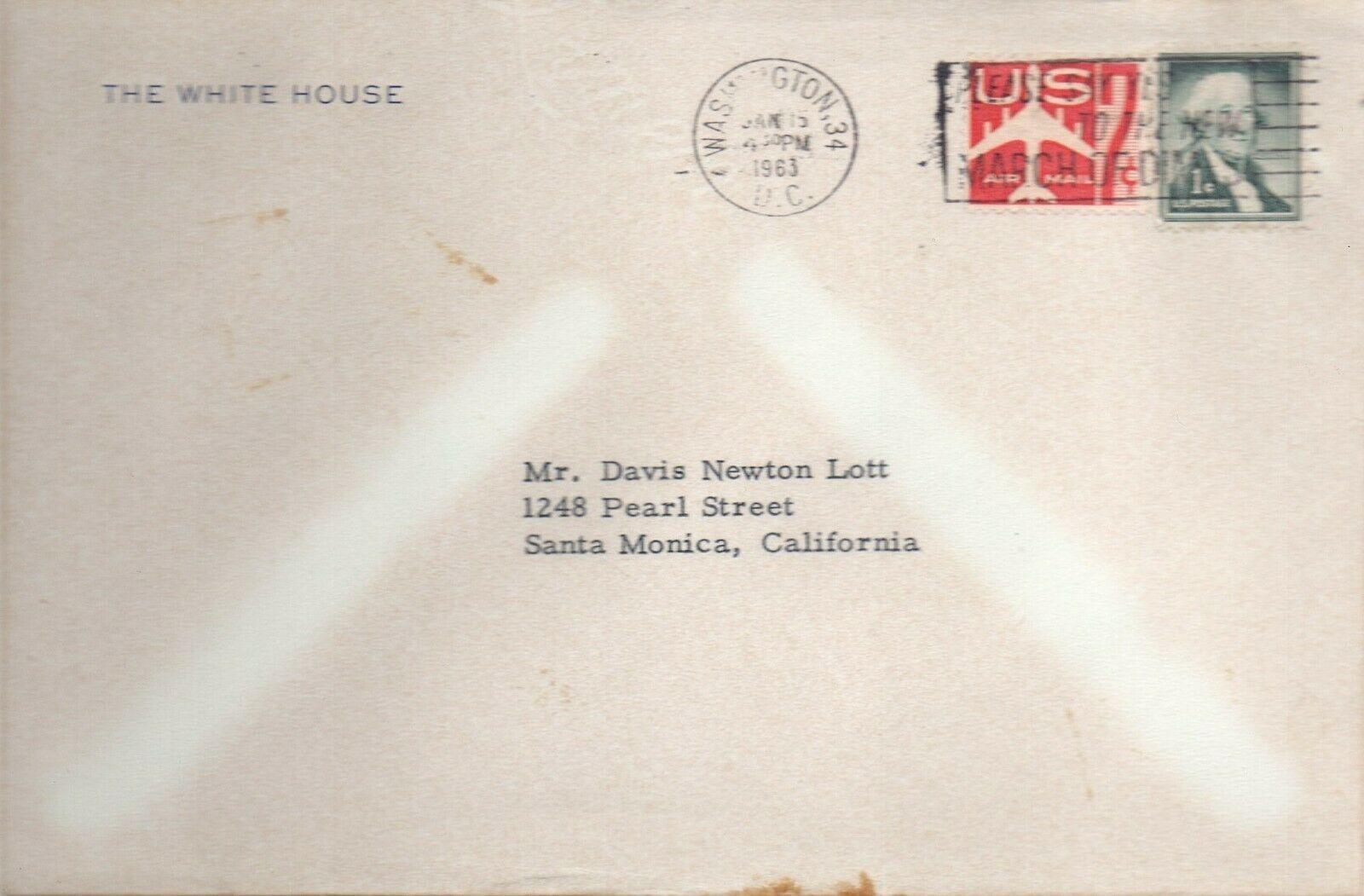 JOHN F. KENNEDY Signed White House letter& envelope. Jan 14,1963. Fine autograph image 2