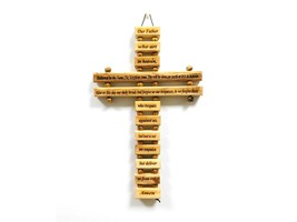 Olive Wood Our Father Lord's Prayer 9 Inches Rope Cross Hand Made Holy Land - $20.33