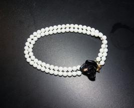 Vintage KJL for Avon Double Strand Necklace, Midnight Rose White Bead Bl... - $30.00
