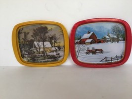 Lot of 2 Metal Trays Winter Scene Tractor Barn Red Gold Candy Cookies Coins - $9.89