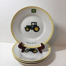 "4 Salad Plates John Deere Gibson 9"" Tractor Yellow Trim - $17.41"