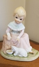 Vintage 1991 Lefton Christopher Collection Girl with Kitten Giving is Loving - $9.89