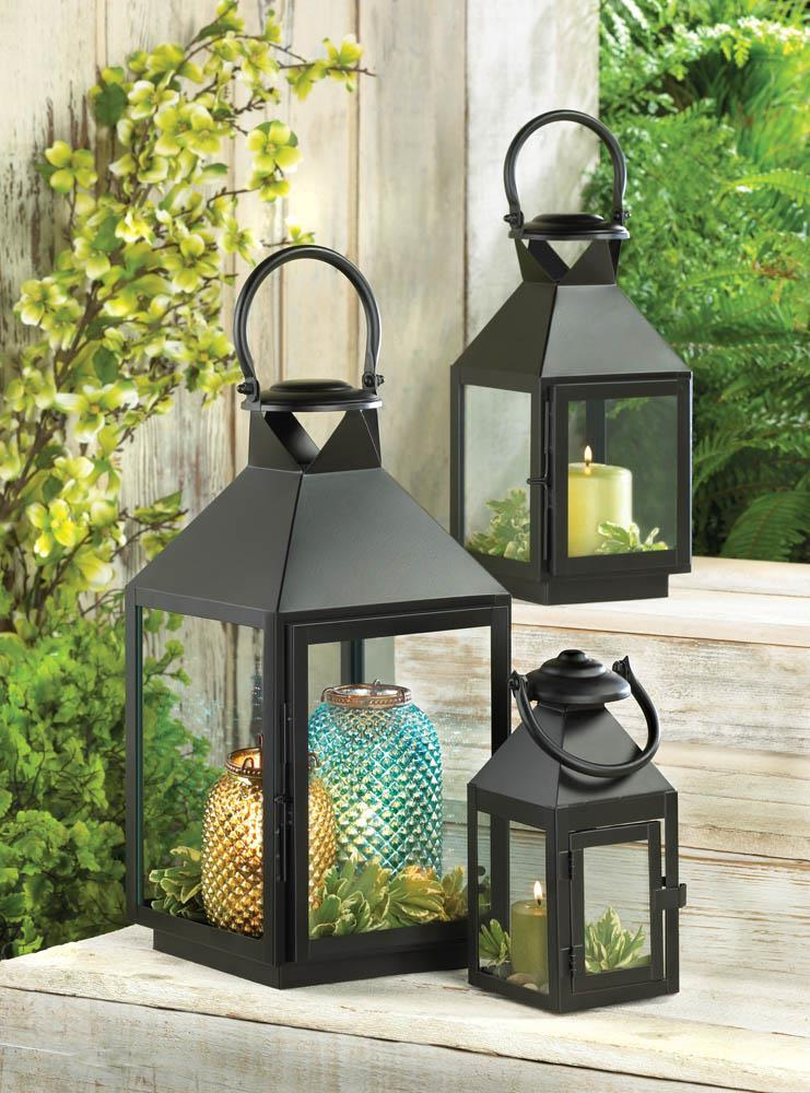"REVERE SMALL BLACK Candle Lantern 8"" Metal"