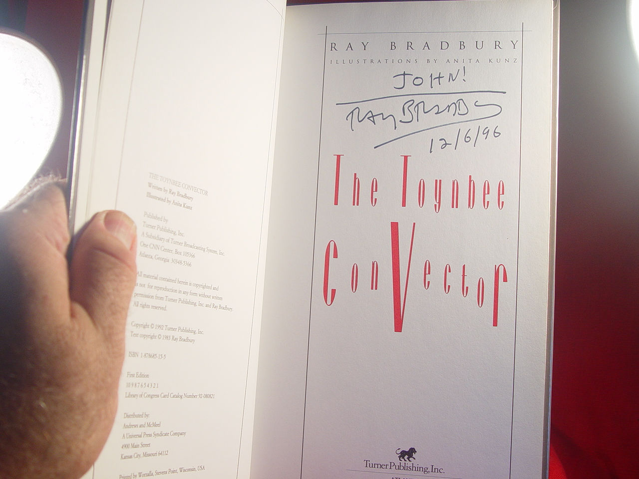 THE TOYNBEE CONVECTOR - SIGNED Ray Bradbury