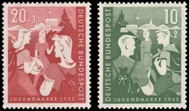 1952 Youth Hostel Set of 2 Germany Postage Stamps Catalog Number B325-26 MNH