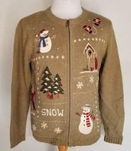 Croft & Barrow Ugly Christmas Sweater Zip Up Snowman Bird House Snow Tre... - $18.69