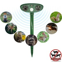 Solar Powered Animal Repeller Ultrasonic Outdoor Pest Mice Cat Fox Deer ... - $21.96